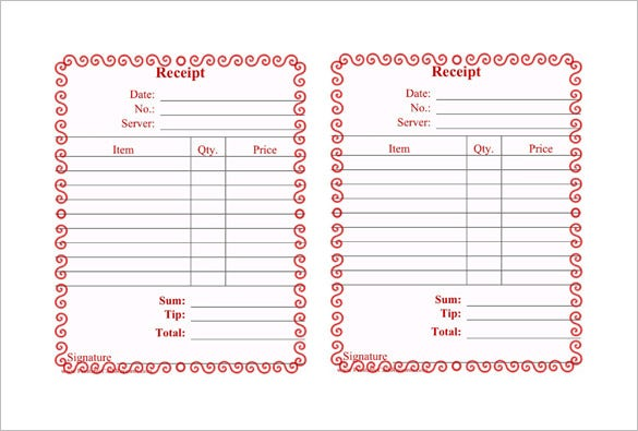 printable restaurant receipt template