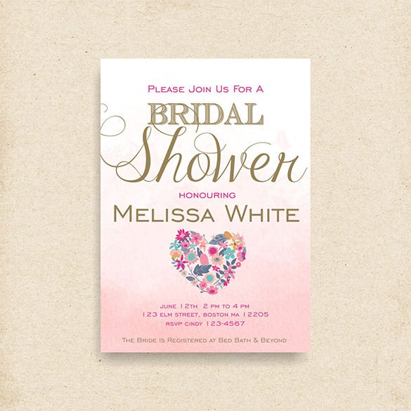 Invitation card templates 37 free printable word pdf psd eps printable shower floral invitation card stopboris Choice Image