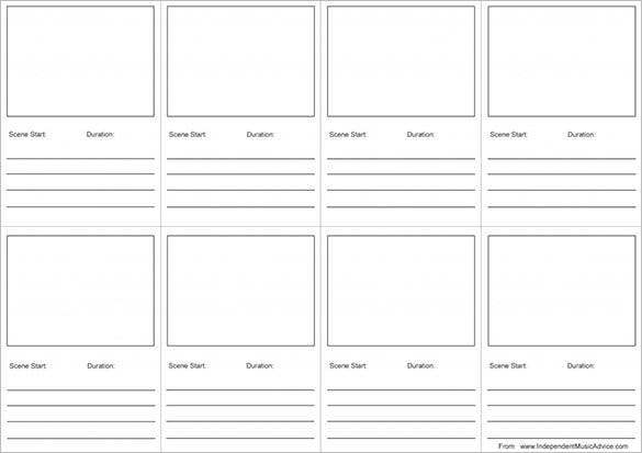 printable storyboard template for music video ms word
