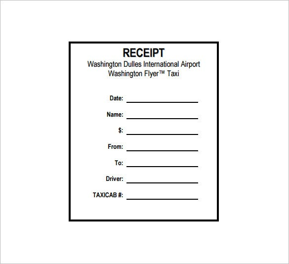 Taxi Receipt Template 16 Free Word Excel PDF Format Download – Blank Receipt Template Word