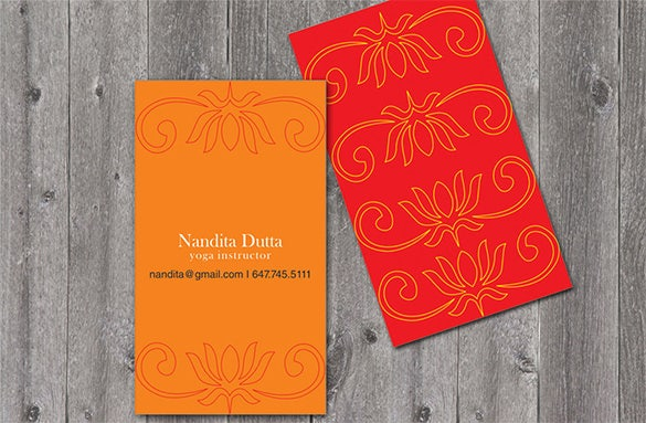 printable yoga visiting card