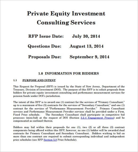 Private Equity Investment Proposal PDF
