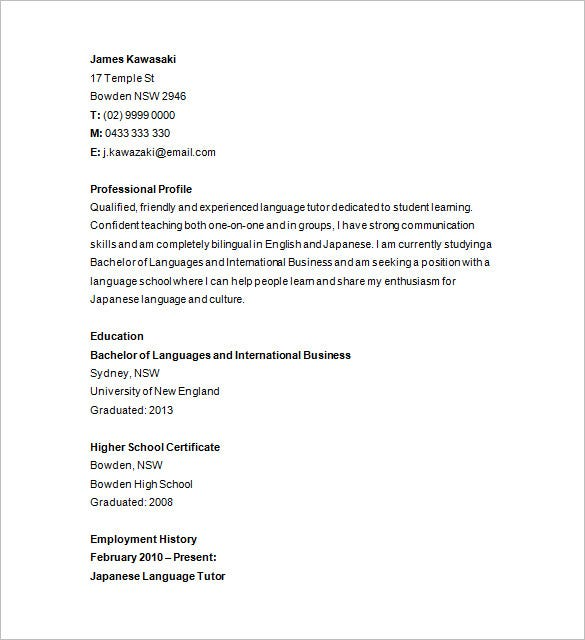 Private Tutor Resume Sample