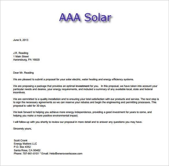 Sales Proposal Letter Letter To A Client