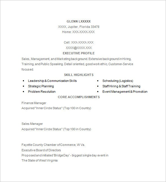 golf resume templates