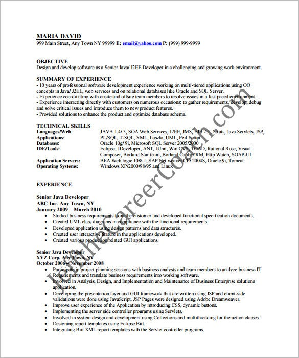 Resume Resume Java Developer Objective java developer resume template 14 free samples examples professional resume