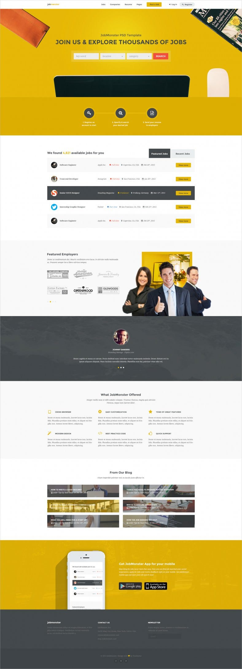 Professional Job Board PSD Website Template