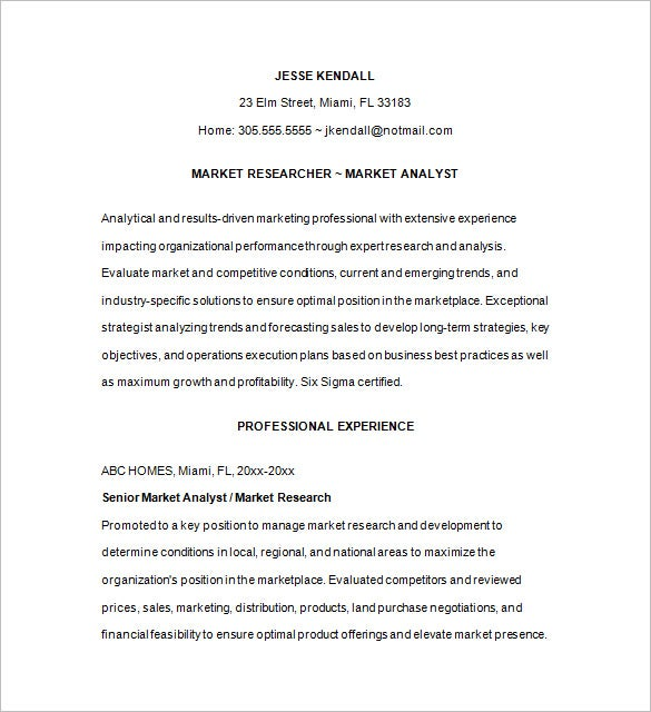 professional marketing analyst resume download