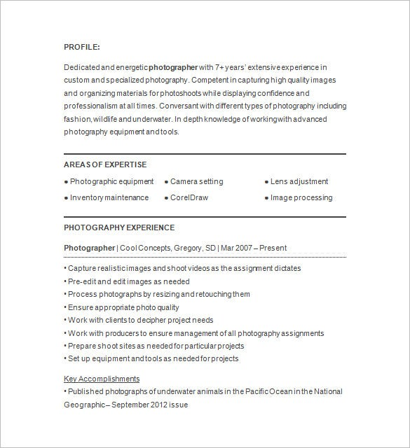Attractive Professional Photographer Resume Sample