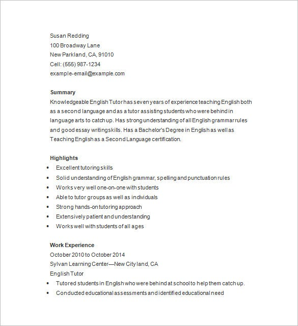 professional tutor resume format - Sample Tutor Resume Template