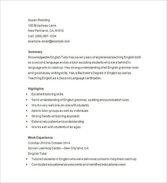 math tutor resume samples
