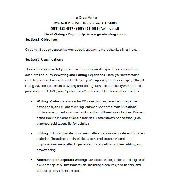 professional writer resume template