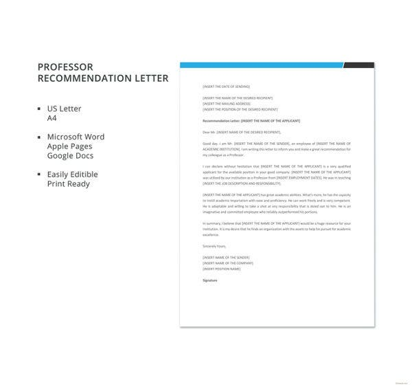 professor recommendation letter template