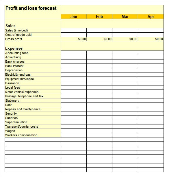 profit loss financial statement example in excel sheet