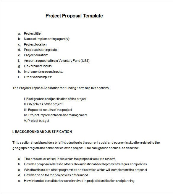 Good Project Proposal Examples Free