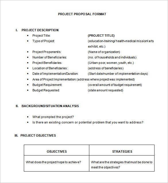 Project Proposal Example Project Project Proposal Sample For