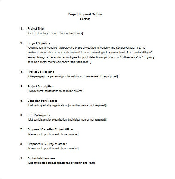 Project Outline Template   Free Word Excel Pdf Format