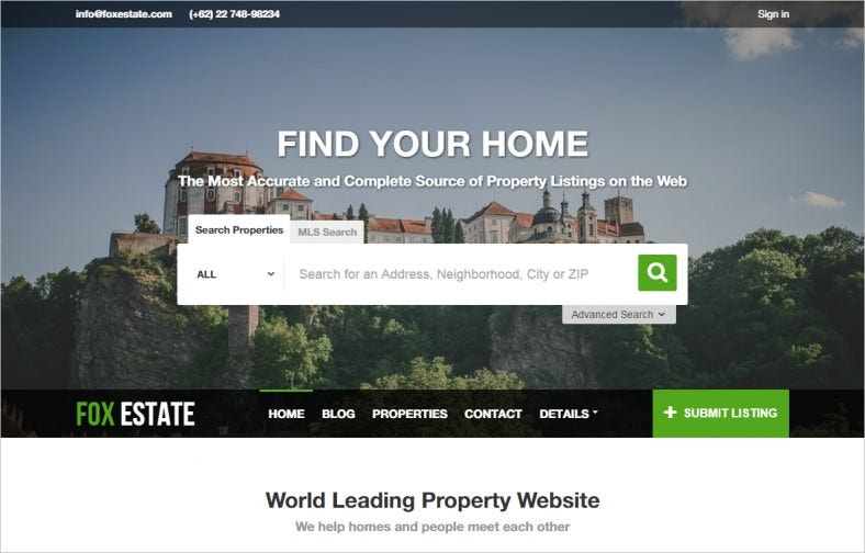 property listing wordpress template 788x504