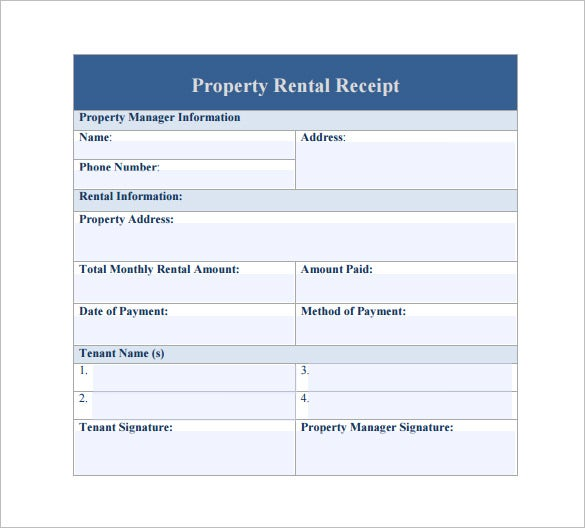 rental property receipt template