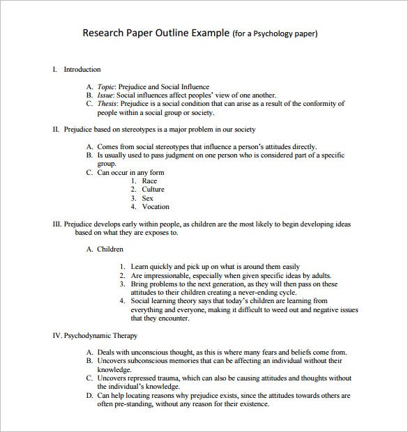 Research Outline Templates  Pdf Doc  Free  Premium Templates Psychology Research Outline Template Example