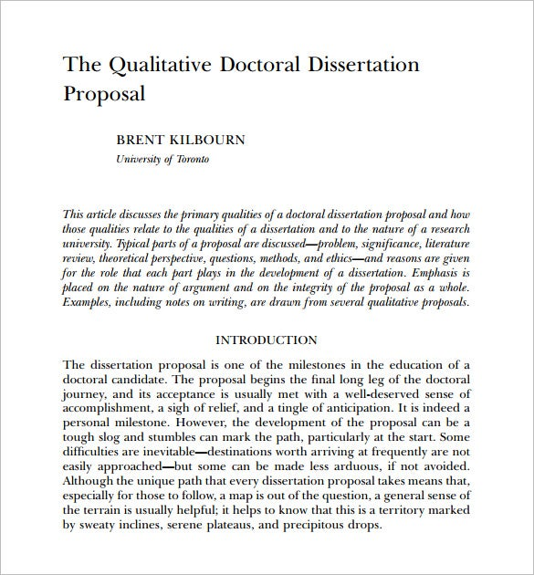 Proposal for a dissertation format