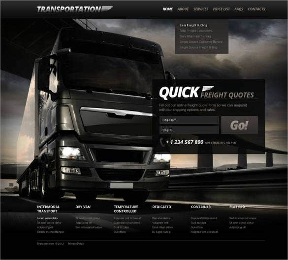 quick transportation website responsive template 67