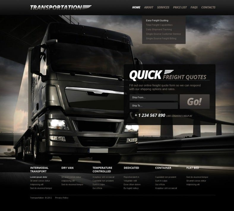 transportation website templates  u0026 themes