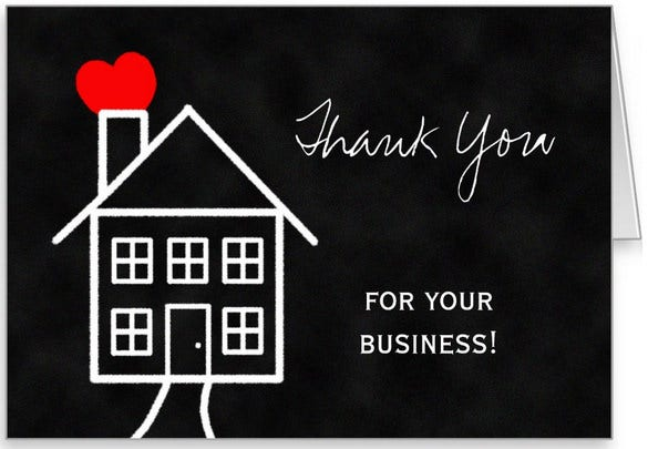 real estate business thank you card