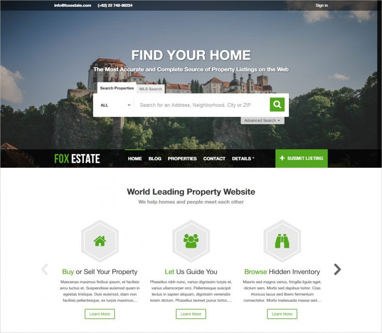 real estate business wordpress template 788x687