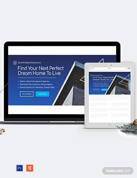 real estate website header template