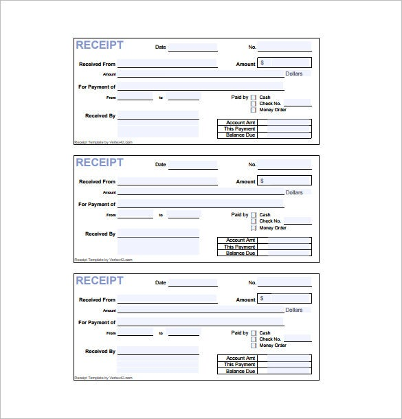 Receipt Form PDF Download  Manual Receipt Template