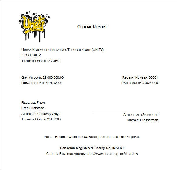 Charitable Donation Receipt Charitable Donation Receipt Form