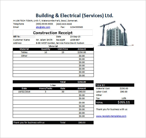 Construction Receipt Template   Free Sample Example Format