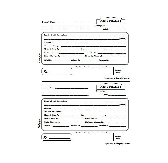 Rent Receipt Template 9 Free Word Excel PDF Format Download – Receipt for Rent