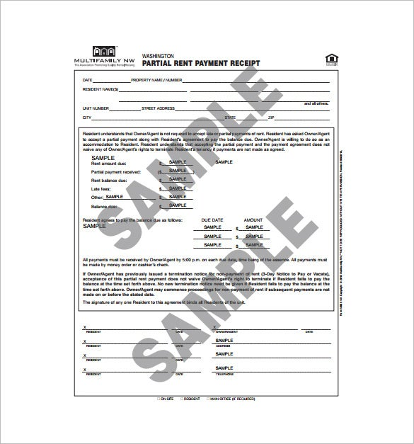 Rent Receipt Template 9 Free Word Excel PDF Format Download – Receipt for Rent Paid