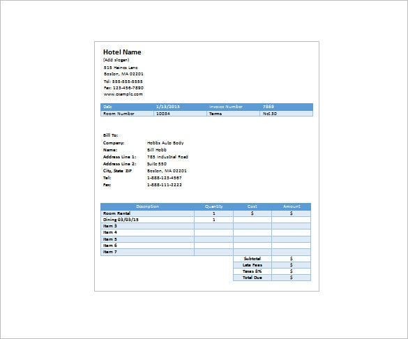 receipt of hotel sample template download