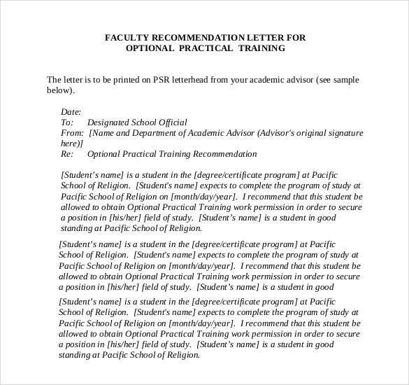Recommendation Letter For Faculty Training Position Sample