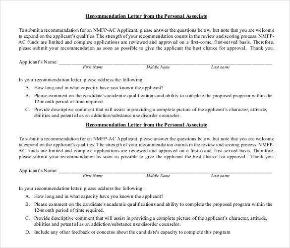 recommendation letter from the personal associate template