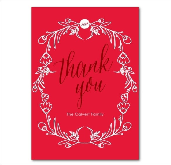 red colour christmas thank you card template