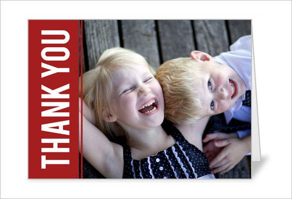 red holiday photo thank you card