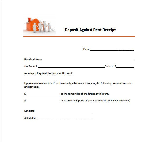 Rent Receipt Template 9 Free Word Excel PDF Format Download – Sample Deposit Receipt