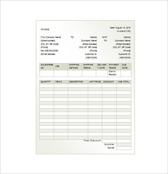 Invoice Receipt Template 8 Free Word Excel PDF Format – Invoice for Rent