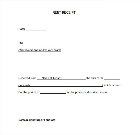 Rent Receipt Template Doc Datariouruguay
