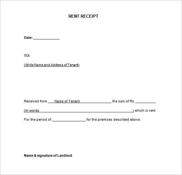 Rental Receipt Template 10 Free Sample Example Format – Format for Rent Receipt
