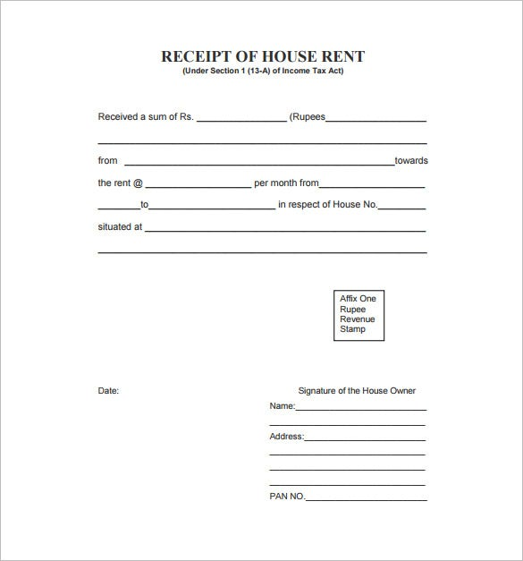 Rent Receipt Template 9 Free Word Excel PDF Format Download – Format for House Rent Receipt