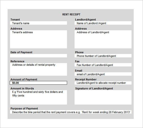 Rent Receipt Template 9 Free Word Excel PDF Format Download – Room Rental Receipt