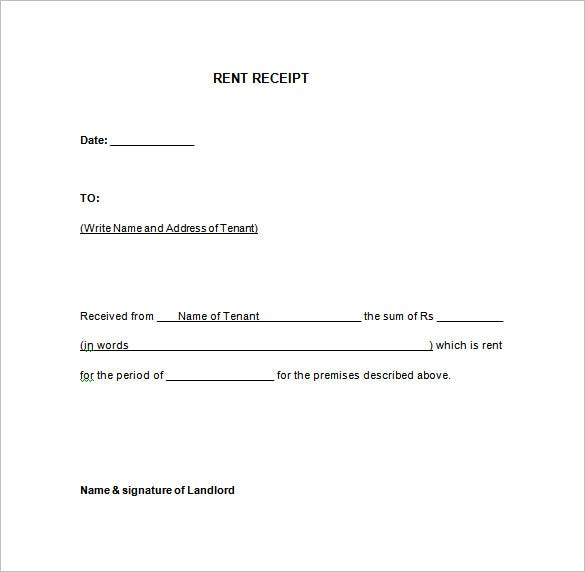 Rent Receipt Template 9 Free Word Excel PDF Format Download – Receipt for Rental Payment