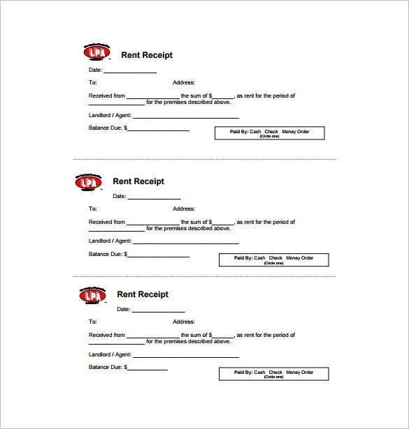 Rent Receipt Template 9 Free Word Excel PDF Format Download – House Rent Slips