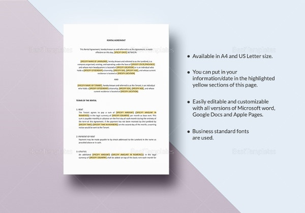 Rental Agreement Template 24 Free Word Excel PDF Documents – Lease Template Microsoft Word