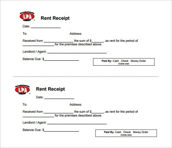 Rental Receipt Template 30 Free Word Excel PDF Documents – Rental Payment Receipt